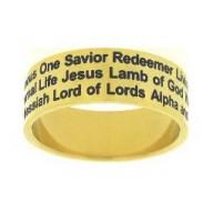 Jesus mená, zlatý - prsteň z chirurgickej ocele (PR77)
