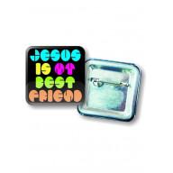 Odznak štvorcový - Jesus is my best Friend - 3,7cm
