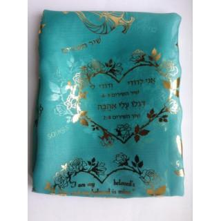 Biblický šál Pieseň piesní, modrozelený (IZ141)
