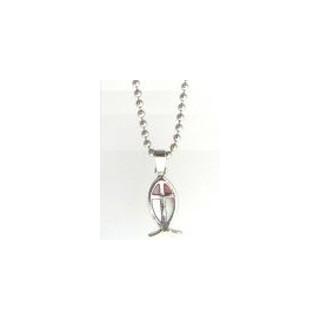 Ichtus s krížom - guľôčkový náhrdelník (NH20)