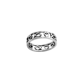 Rybka a srdce - strieborný prsteň (PR18)