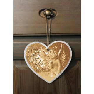 Tabuľka - Srdce Anjel - zlatý
