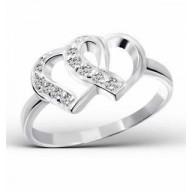 Hearts - strieborný prsteň so zirkónmi (PR84)