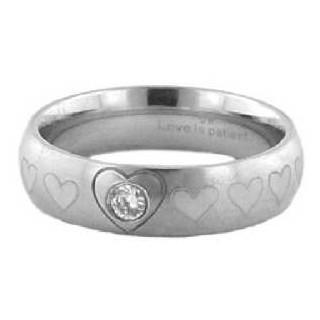 Purity/Heart - oceľový prsteň s kamienkom (PR85)