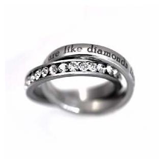 True Friends - dvojitý oceľový prsteň s kamienkami (PR87)