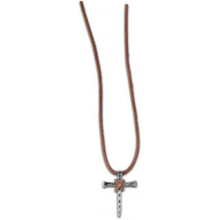 Trojklincový kríž - kožený náhrdelník (NH125)