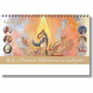 Katolícky kalendár Rok s Pannou Máriou a so svätými 2019 (stolový)
