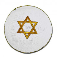 Jarmulka. Dávidová hviezda - biela so zlatou (IZ169)