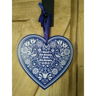 Tabuľka - Srdce - Boh do domu (modré)