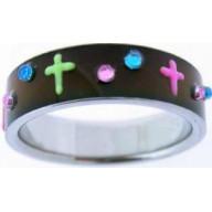 UV krížik čierny - prstienok z chirurg. ocele (PS09)