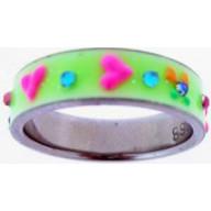 UV krížik zelený - prstienok z chirurg. ocele (PS08)