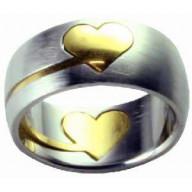 Srdce puzzle - prsteň z chirurg. ocele (PR22)