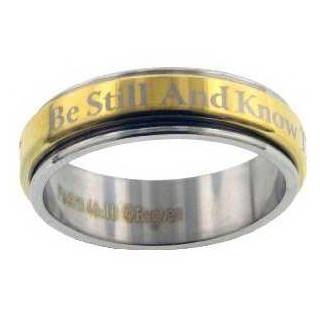 Be Still and Know - prsteň z chirurg. ocele (PR52)