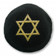 Jarmulka. Kippa. XI. Čierna so zlatou Dávidovou hviezdou  (IZ008)
